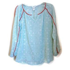 Sundance Aztec Blue Bohemian Long Sleeve Top